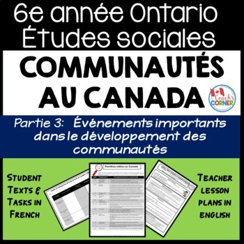 Ontario Grade 6 Social Studies: Communities in Canada Part 3 - FRENCH Version