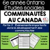 Ontario Grade 6 Social Studies: Communities in Canada Part 3 - FRENCH Version