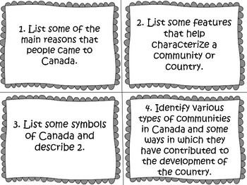 Communities in Canada Task Cards