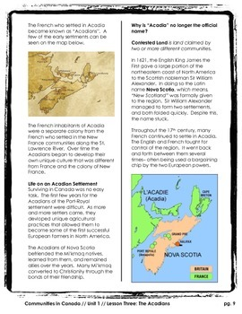 Communities in Canada // THE ACADIANS - ACADIA // History // Social Studies
