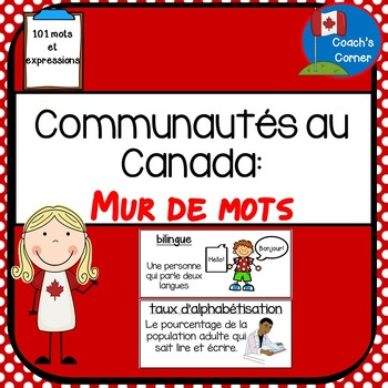 Communities in Canada Word Wall - FRENCH Version