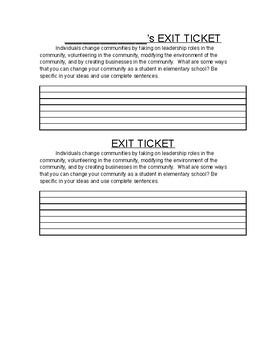 Communities Exit Ticket