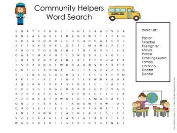 Community Helpers Activity   Community   Community Helpers Word Search