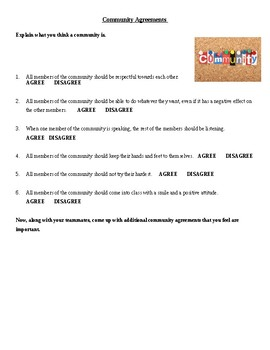 Community Agreement Worksheet