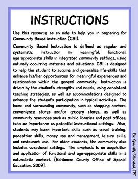 Community Based Instruction - Special Education