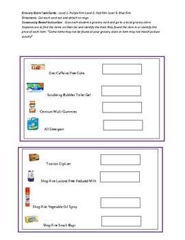 Community Based Instruction: Grocery Store Task Cards