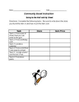 Community Based Instruction: Mall Activity
