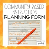 Community Based Instruction Planning Form FREE