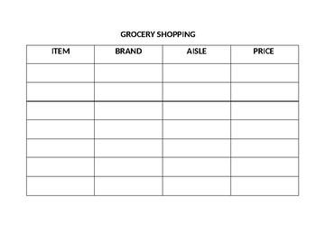 Community Based Instruction Task: Grocery Shopping
