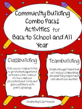 Community Building Activities Pack For Back to School and