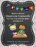 Community Building Activity Menu (Grades K-3)
