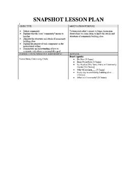 Community Building Lesson Plans and Handouts