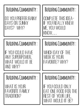 Community Building Question Cards