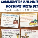 Community Building Morning Message Back to School Edition {FREEBIE}