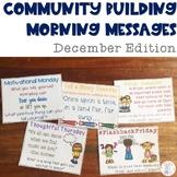Community Building Morning Message December Edition