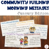 Community Building Morning Message January Edition