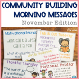 Community Building Morning Message November Edition