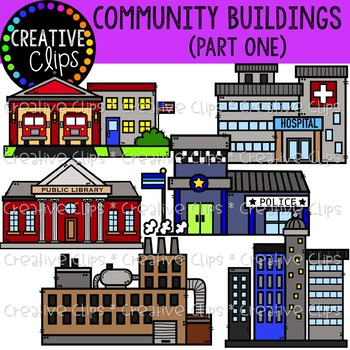Community Buildings 1 {Creative Clips Clipart}