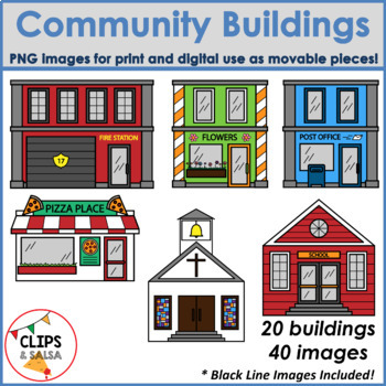 Community Buildings Clip Art for Digital & Paper Resources ...