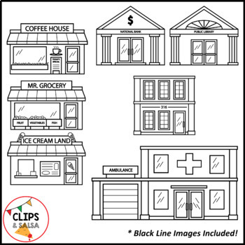 community buildings clip art for digital paper resources by clips and salsa. Black Bedroom Furniture Sets. Home Design Ideas