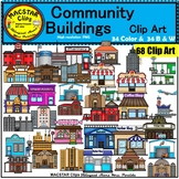 Community Buildings Clip Art  Commercial use