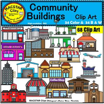 Community Buildings Clip Art Commercial use by Bilingual ...