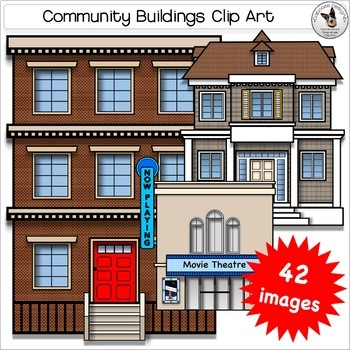 Community Buildings, City, Neighborhood and Home Realistic Clip Art