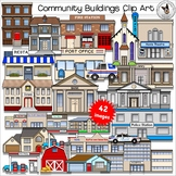 Community Buildings Clip Art. City, Neighborhood and Home