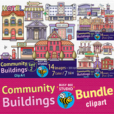 Community Buildings Clip Art BUNDLE