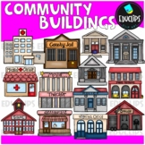Community Buildings Clip Art Bundle {Educlips Clipart}