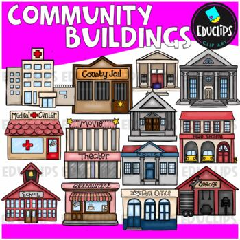 Community Buildings Clip Art Bundle {Educlips Clipart}