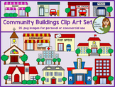 Community Buildings Clip Art Set - 26 images for personal and commercial use