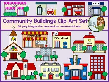 Community Buildings Clip Art Set - 26 images for personal