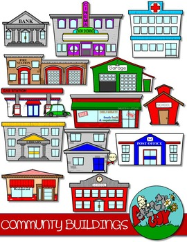 Community Buildings Clip art by A Sketchy Guy | Teachers ...