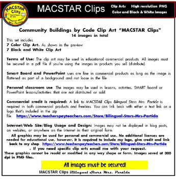 Community Buildings Color by Code Clip Art  ClipArt  images