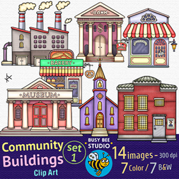 Community Buildings Clipart Set 1 by Busy Bee Studio Clip ...