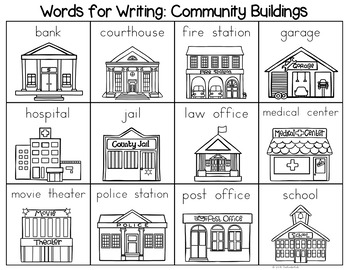 places around town coloring pages | Community Buildings Word List - Writing Center by The ...