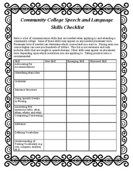 Community College Speech Skills Checklist