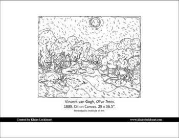 Community Coloring Page: Olive Trees by Vincent van Gogh