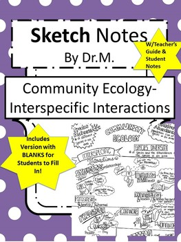 Community Ecology Sketch Notes W/Teacher Guide, Notes & Student FIB!