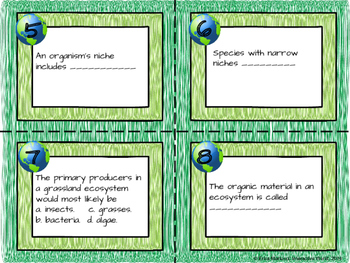 Community Ecology Task Cards