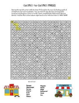 Community (En ville) Word Maze-  French