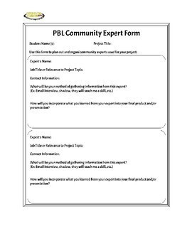 Community Expert Planner for Project-Based Learning