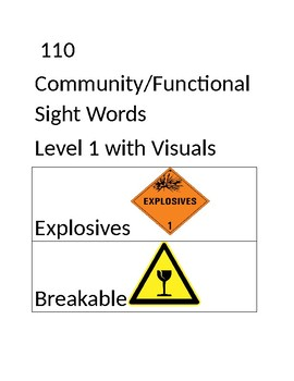 Community/Functional Sight Word Flash Cards