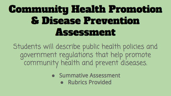Community Health Promotion and Disease Prevention Assessment