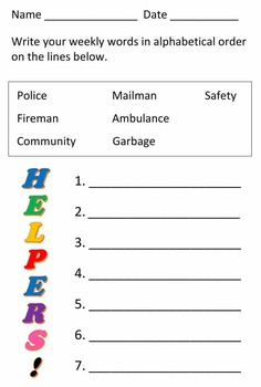Community Helper Alphabetical Order Worksheet