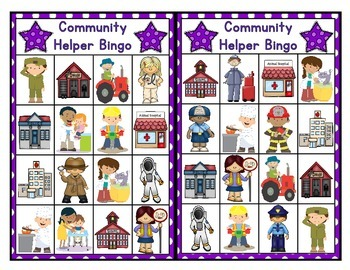 Community Helper Bingo 6 Boards With Calling Cards & Markers