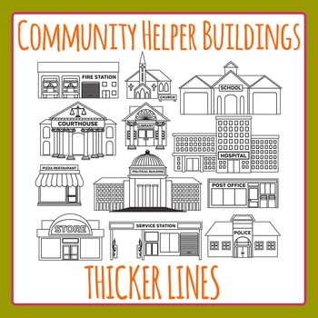 Community Helper Buildings Thicker Lines Lineart Clip Art Set Commercial Use