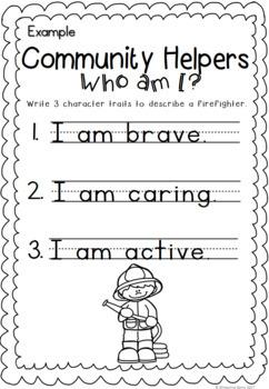 Community Helper Character Trait Activity - Freebie Sampler