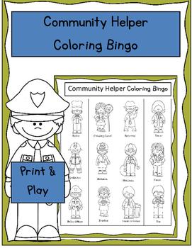 Community Helper Coloring Bingo